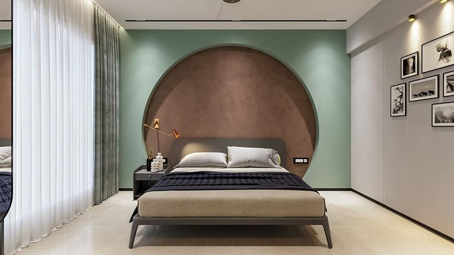 Idee per decorare la parete dietro al letto con le nicchie n.01