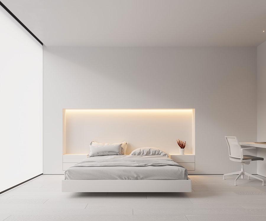 Idee per decorare la parete dietro al letto con le nicchie n.04