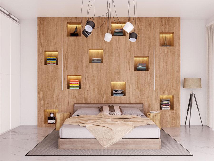 Idee per decorare la parete dietro al letto con le nicchie n.05