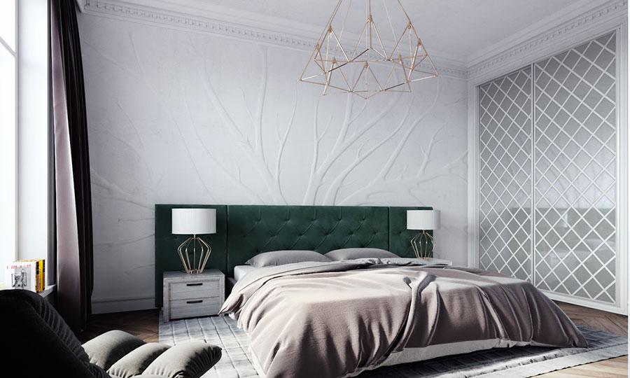 Idee per decorare la parete dietro al letto con la pittura materica n.01