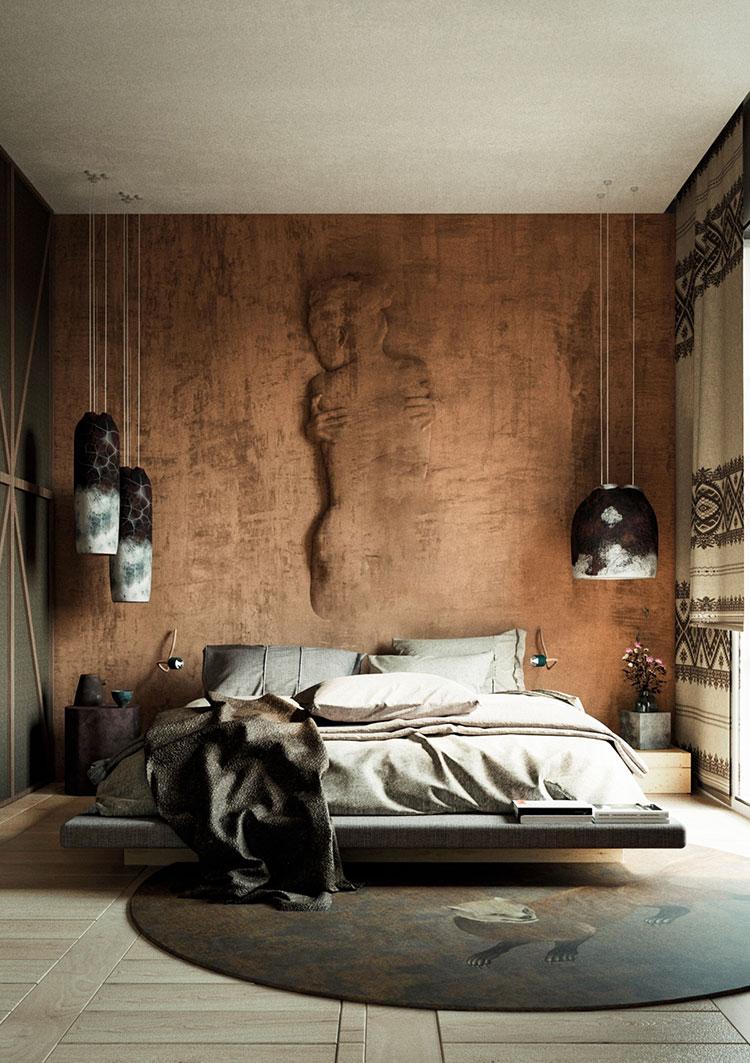 Idee per decorare la parete dietro al letto con la pittura materica n.03