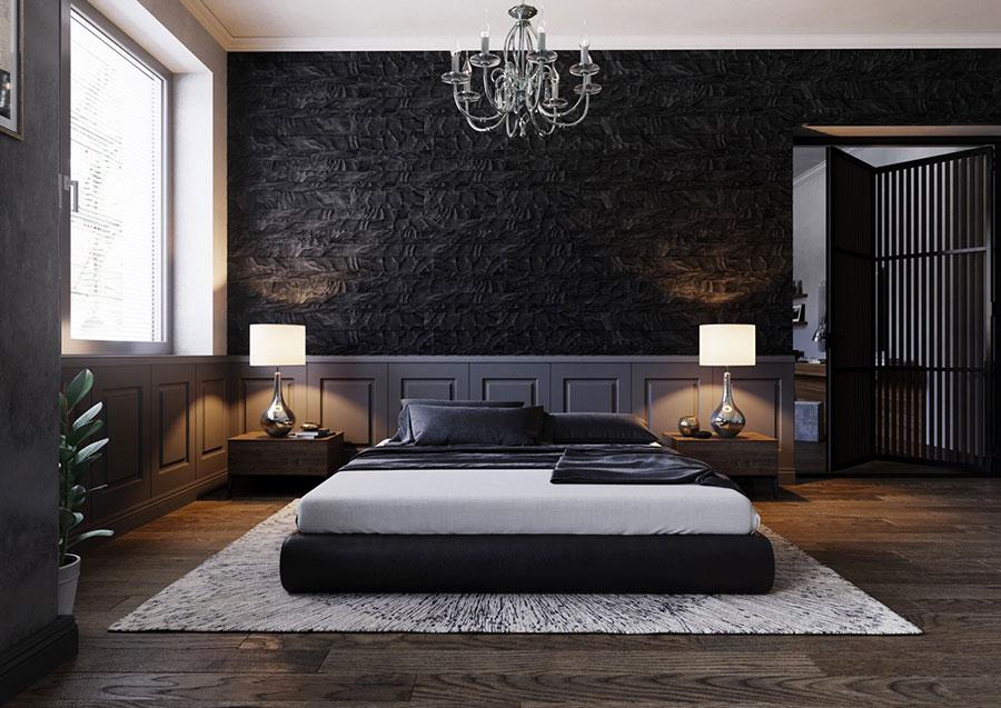 Idee per decorare la parete dietro al letto con la pittura materica n.04