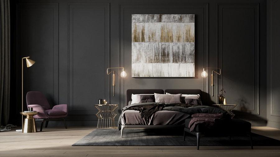 Idee per decorare la parete dietro al letto con i quadri n.04