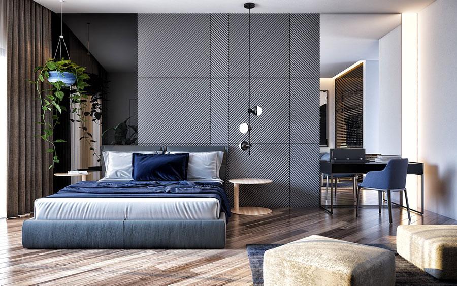 Idee per decorare la parete dietro al letto con i rivestimenti n.02