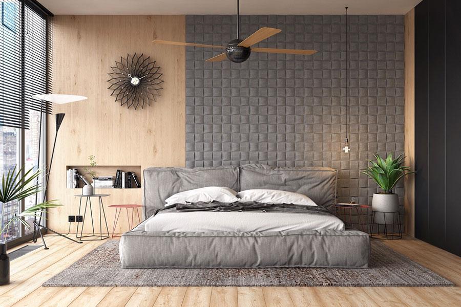 Idee per decorare la parete dietro al letto con i rivestimenti n.03
