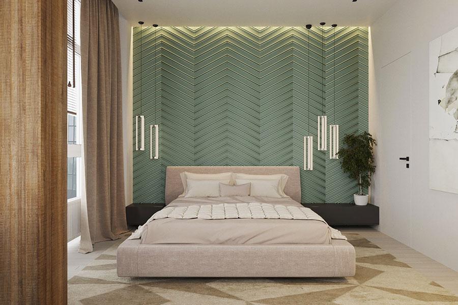 Idee per decorare la parete dietro al letto con i rivestimenti n.05