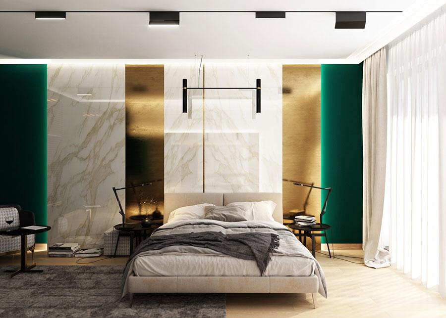 Idee per decorare la parete dietro al letto con i rivestimenti n.06