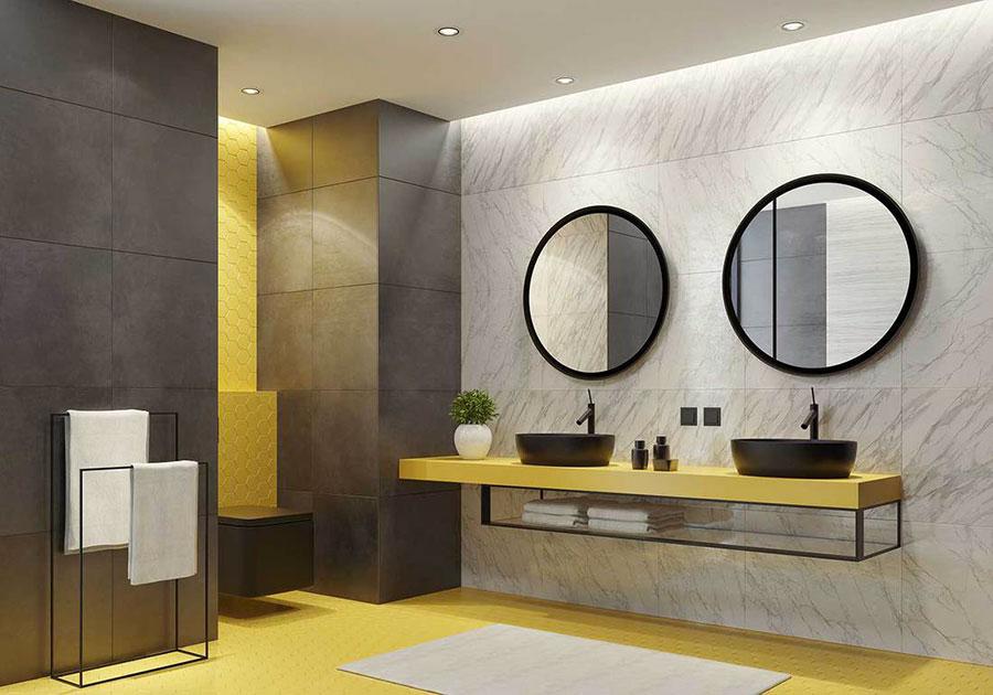 Idee per arredare il bagno con i colori Pantone 2021 grigio e giallo n.01