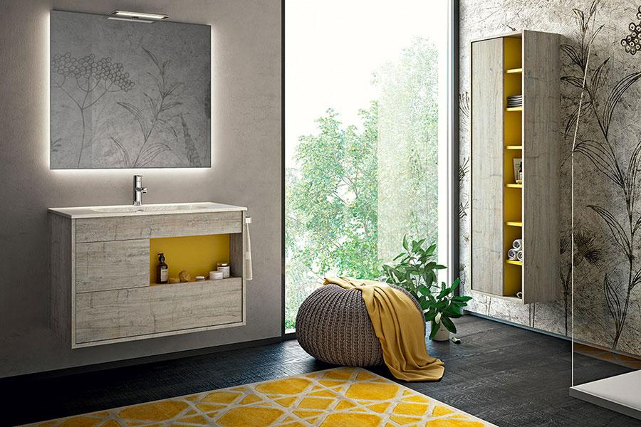 Idee per arredare il bagno con i colori Pantone 2021 grigio e giallo n.03