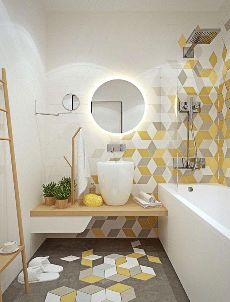 Idee per arredare il bagno con i colori Pantone 2021 grigio e giallo n.05