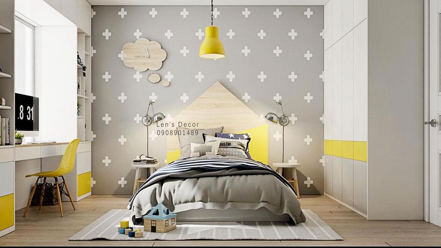 Idee per arredare la cameretta con i colori Pantone 2021 grigio e giallo n.01