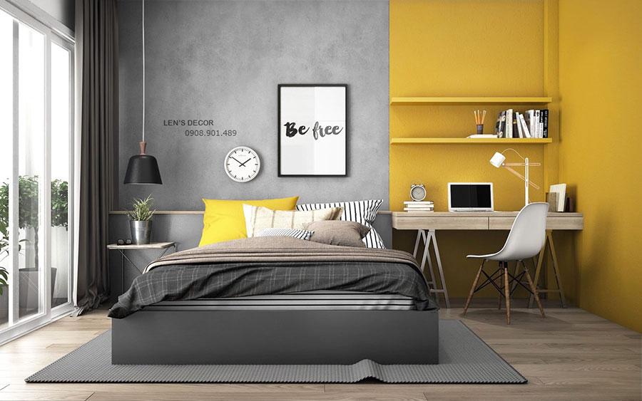 Idee per arredare la cameretta con i colori Pantone 2021 grigio e giallo n.02