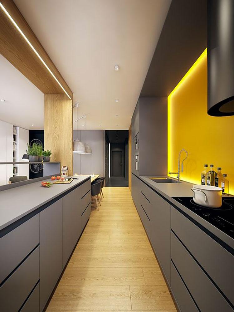 Idee per arredare la cucina con i colori Pantone 2021 grigio e giallo n.01
