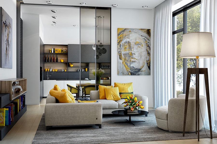 Idee per arredare il soggiorno con i colori Pantone 2021 grigio e giallo n.01