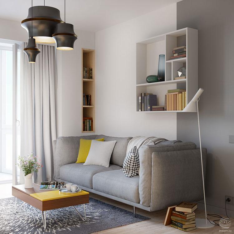 Idee per arredare il soggiorno con i colori Pantone 2021 grigio e giallo n.03