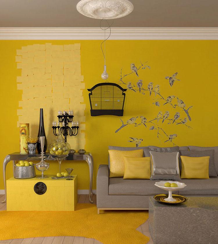 Idee per arredare il soggiorno con i colori Pantone 2021 grigio e giallo n.04