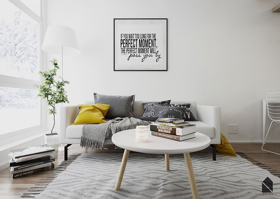 Idee per arredare il soggiorno con i colori Pantone 2021 grigio e giallo n.05