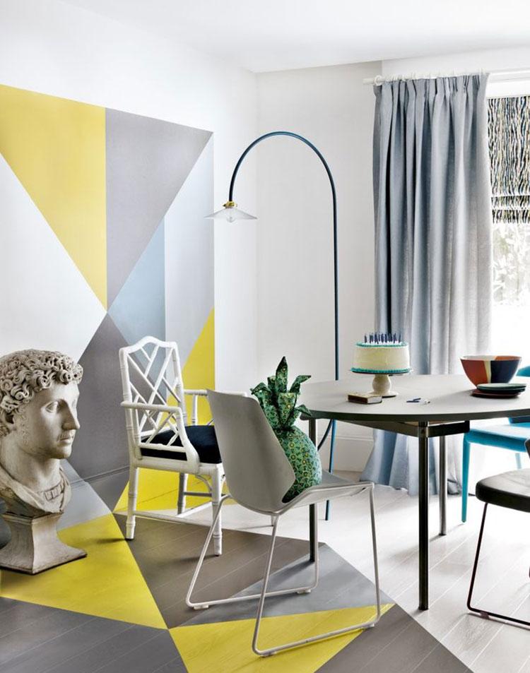 Idee per arredare il soggiorno con i colori Pantone 2021 grigio e giallo n.07