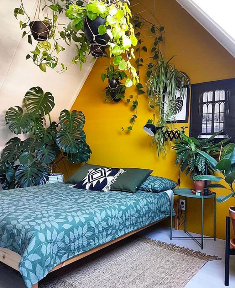 Idee camera da letto colore ocra n.01