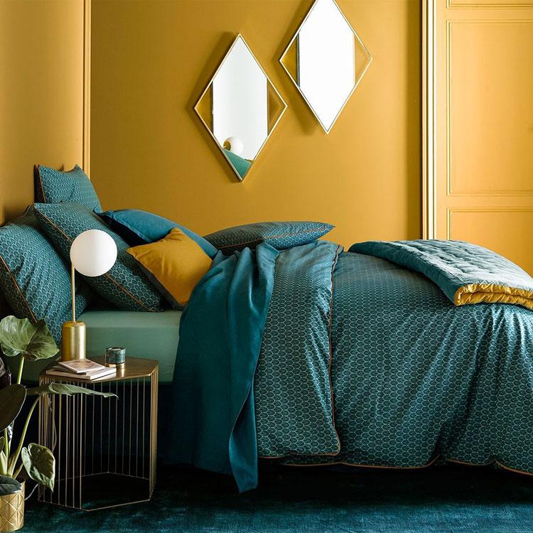 Idee camera da letto colore ocra n.03