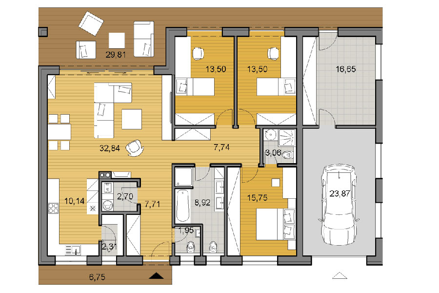 Idee planimetria casa di 150 mq n.01