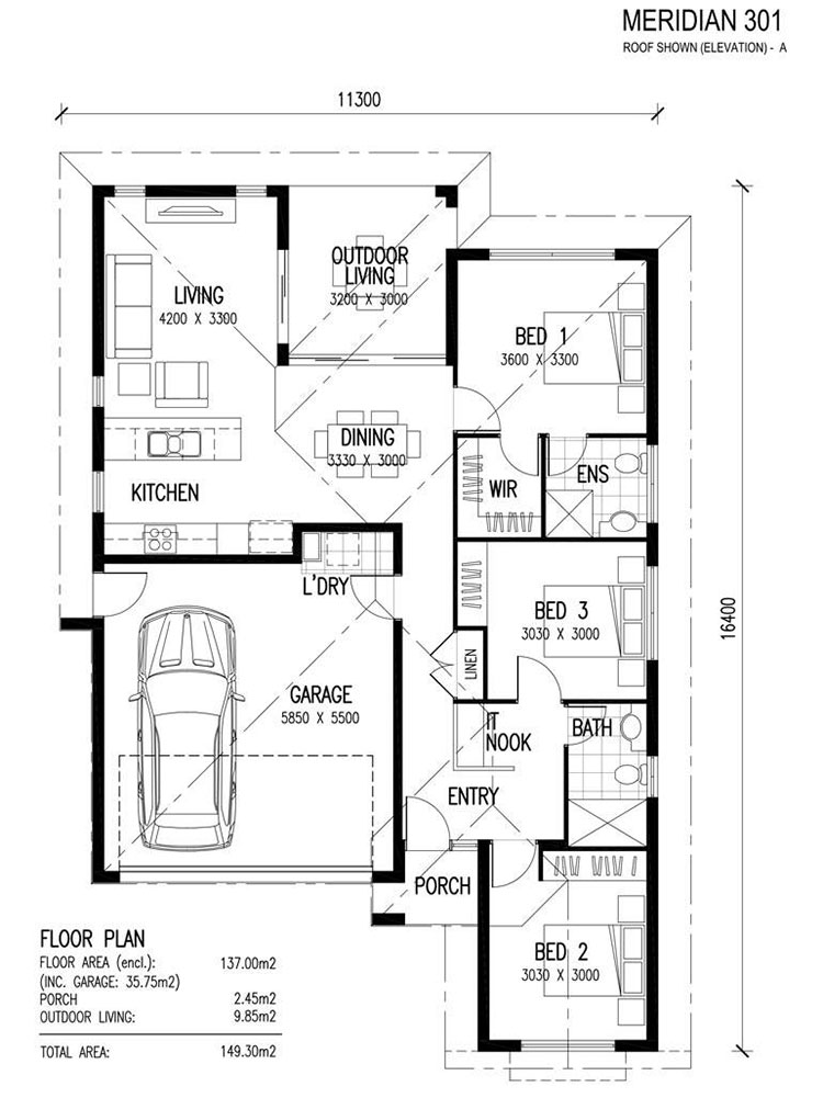 Idee planimetria casa di 150 mq n.04