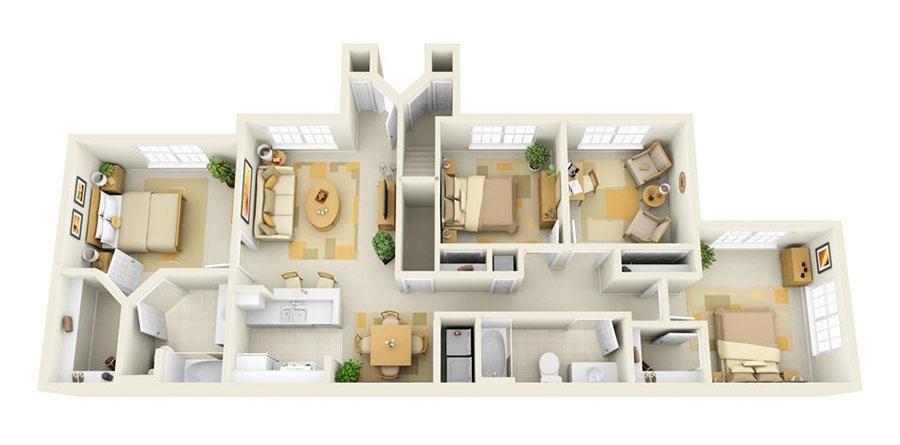 Idee planimetria casa di 150 mq n.07