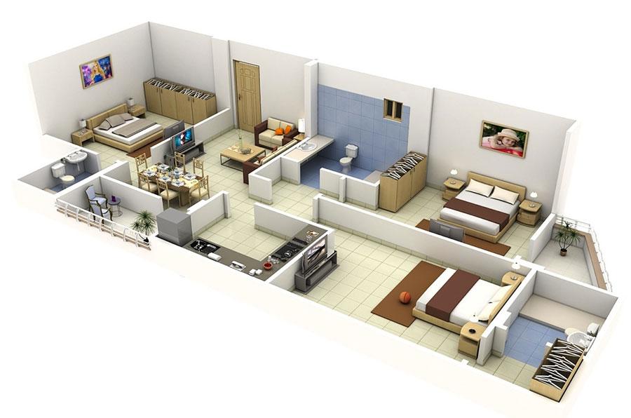 Idee planimetria casa di 150 mq n.14