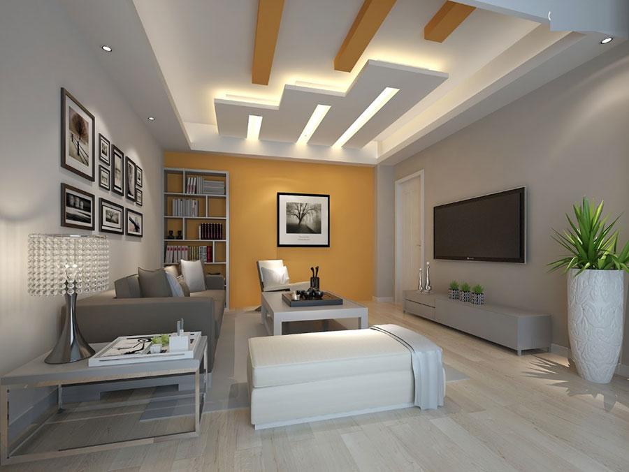 Idee per illuminare il controsoffitto del soggiorno con decori n.01