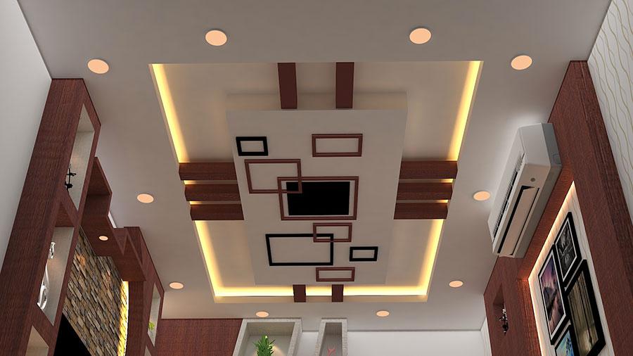 Idee per illuminare il controsoffitto del soggiorno con decori n.02