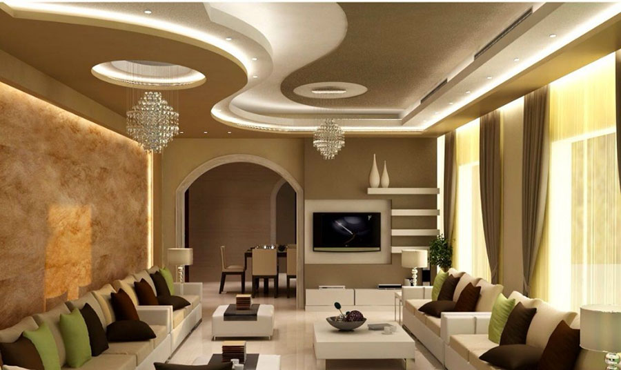 Idee per illuminare il controsoffitto del soggiorno con decori n.03