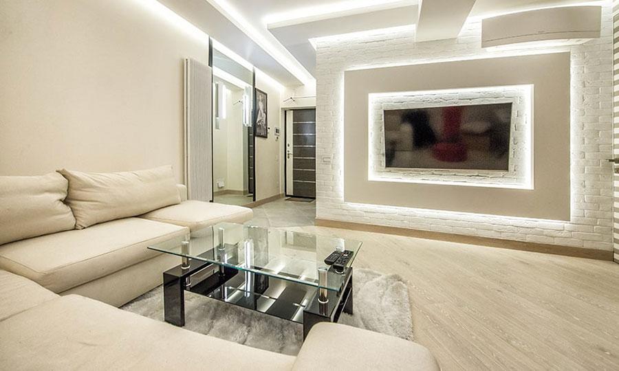 Idee per illuminare il controsoffitto del soggiorno con decori n.04
