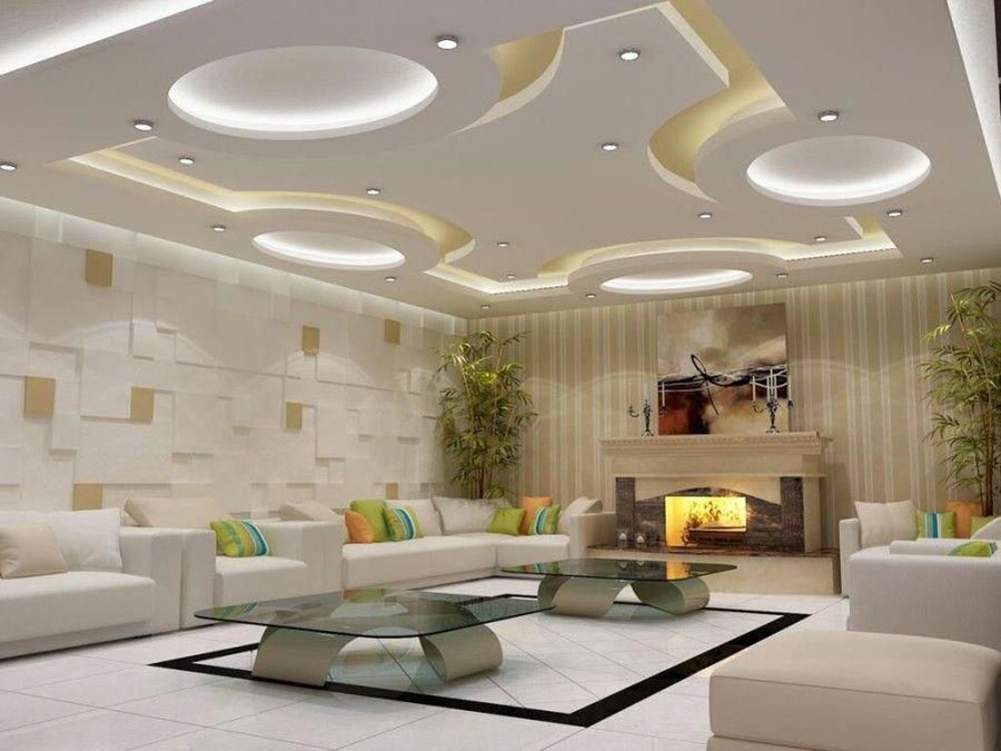 Idee per illuminare il controsoffitto del soggiorno con decori n.05