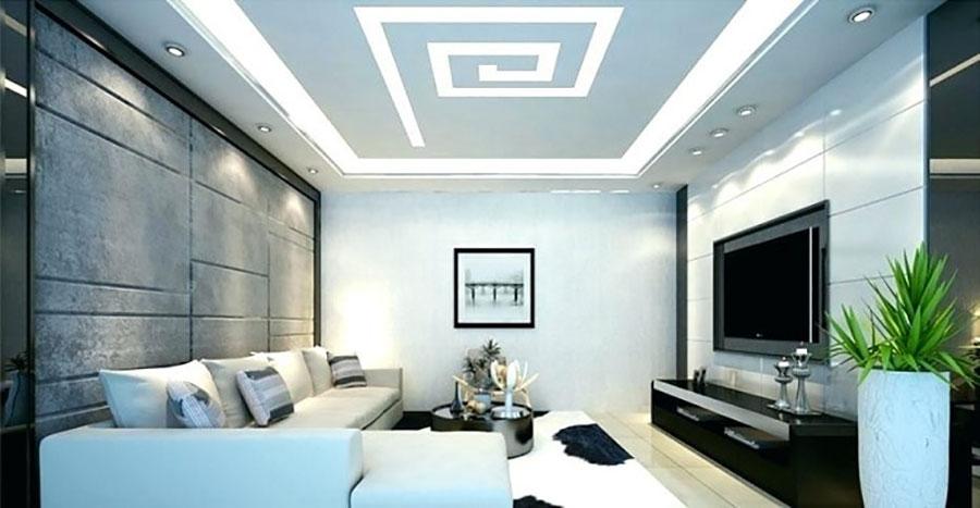 Idee per illuminare il controsoffitto del soggiorno con decori n.06