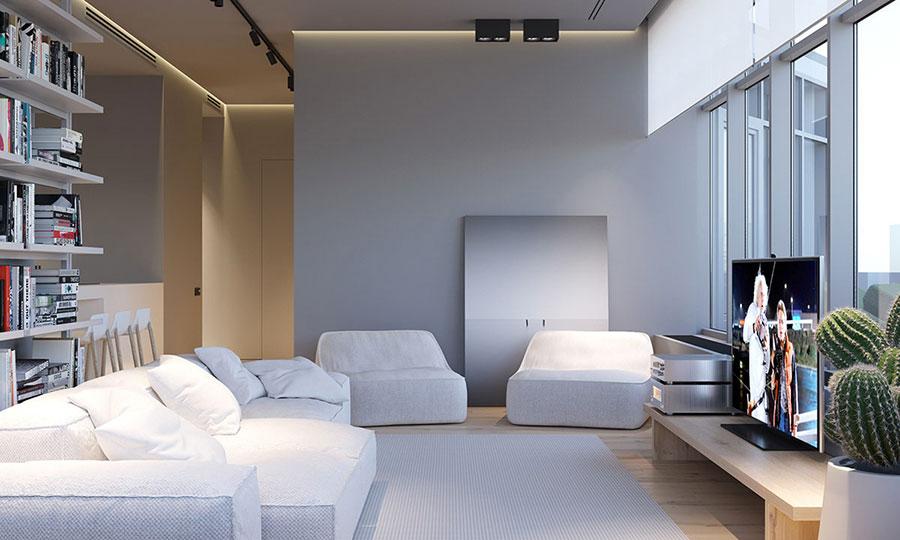 Idee per illuminare il controsoffitto del soggiorno con faretti e led n.03