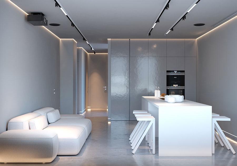 Idee per illuminare il controsoffitto del soggiorno con faretti e led n.04