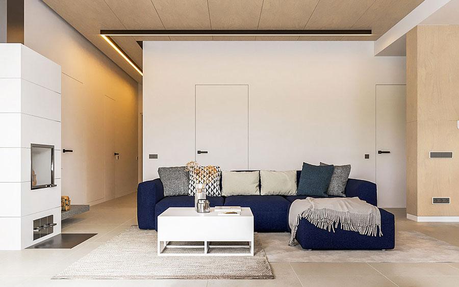 Idee per illuminare il controsoffitto del soggiorno con faretti e led n.06