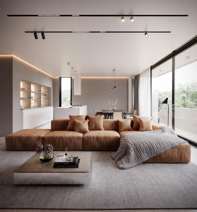 Idee per illuminare il controsoffitto del soggiorno con faretti e led n.08