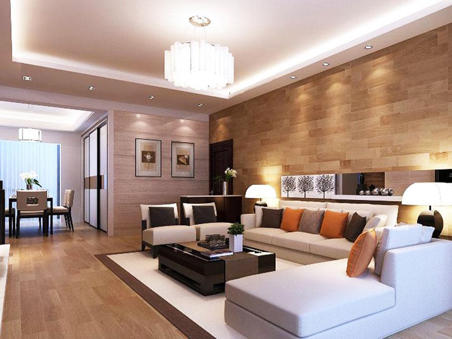 Idee per illuminare il controsoffitto del soggiorno con faretti e led n.11