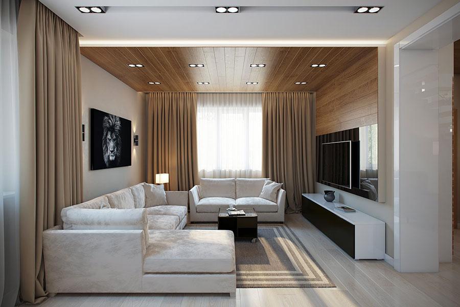 Idee per illuminare il controsoffitto del soggiorno con faretti e led n.12