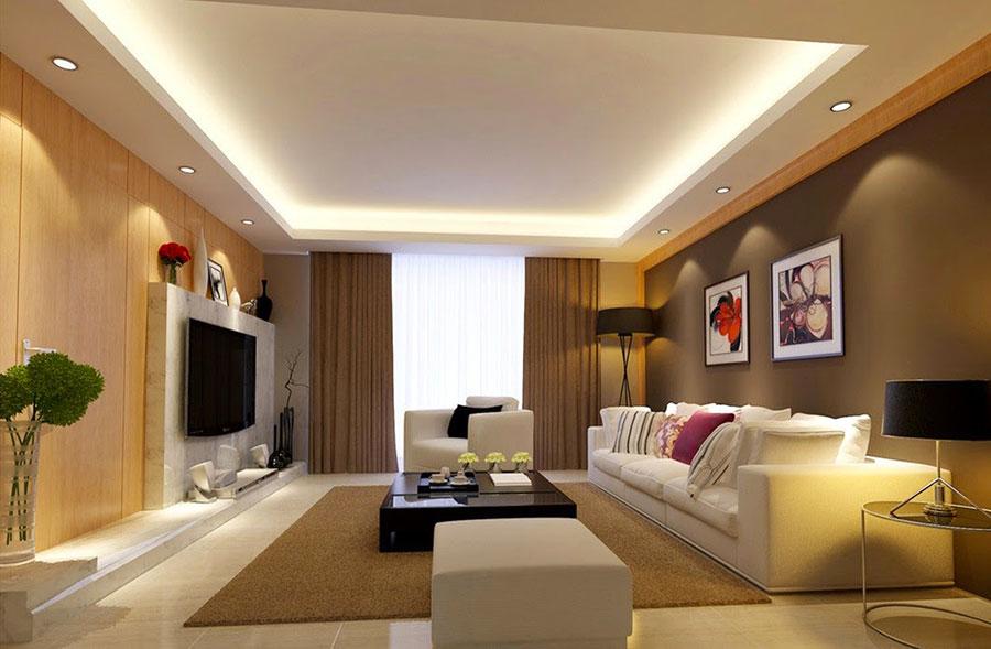 Idee per illuminare il controsoffitto del soggiorno con faretti e led n.13