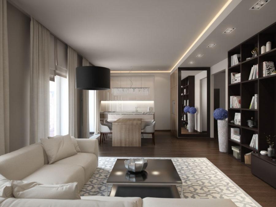 Idee per illuminare il controsoffitto del soggiorno con faretti e led n.14