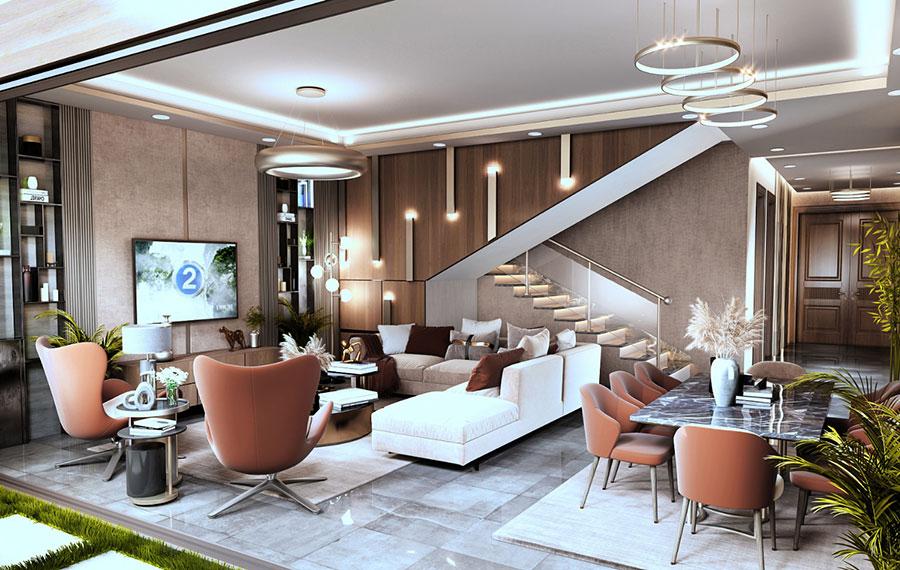 Idee per illuminare il controsoffitto del soggiorno con faretti e led n.17