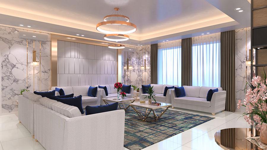 Idee per illuminare il controsoffitto del soggiorno con faretti e led n.18