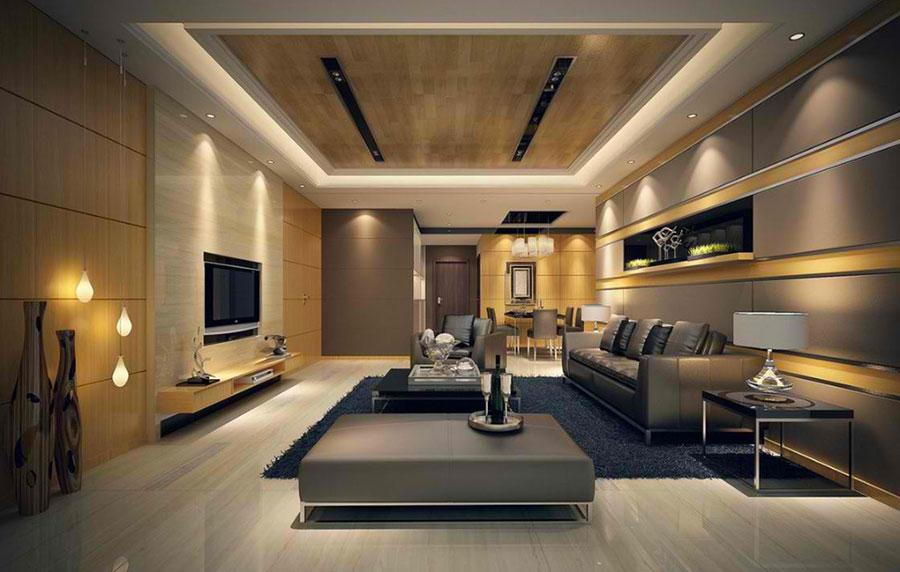 Idee per illuminare il controsoffitto del soggiorno con faretti e led n.19