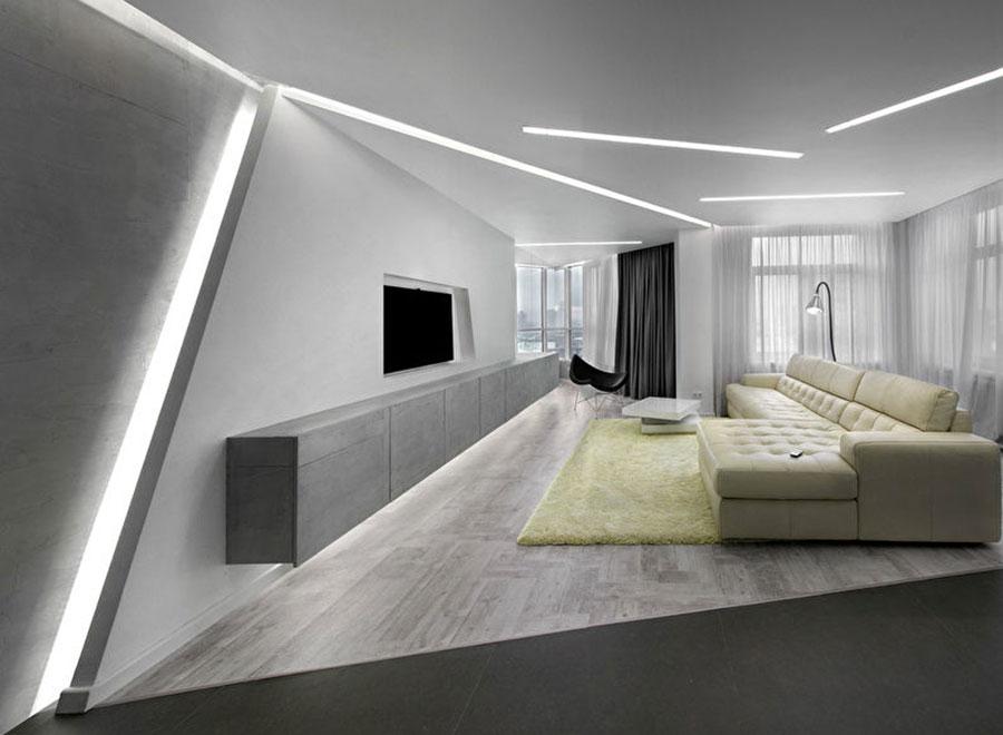 Idee per illuminare il controsoffitto del soggiorno con strisce led n.01