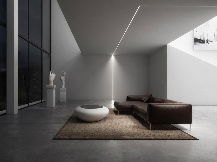 Idee per illuminare il controsoffitto del soggiorno con strisce led n.02