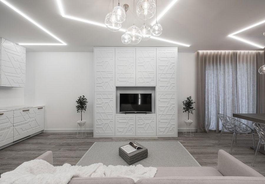 Idee per illuminare il controsoffitto del soggiorno con strisce led n.03