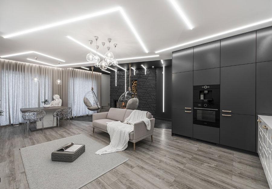 Idee per illuminare il controsoffitto del soggiorno con strisce led n.04
