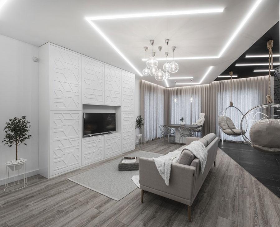 Idee per illuminare il controsoffitto del soggiorno con strisce led n.05